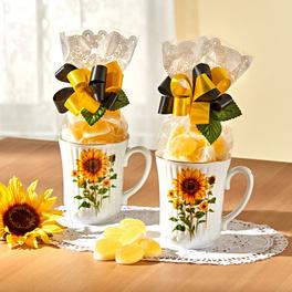 """1 Geschenk-Tasse """"Sonnenblumen"""" + Geleefrüchte"""