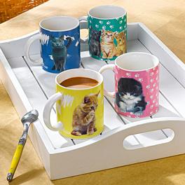 """Kaffeebecher """"Katzen"""", 4er-Set"""