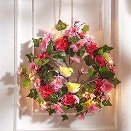 LED-Blumenkranz mit Vögeln