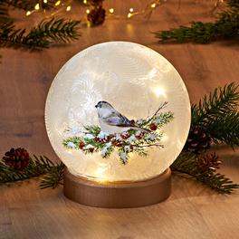 """LED-Glaskugel """"Wintervogel"""""""