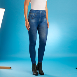 Slim-Jeggings mit Fleece-Futter blau