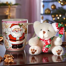 Weihnachtstasse mit Bär, 2-tlg.