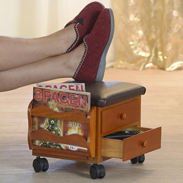 Fußbank mit Schubladen braun