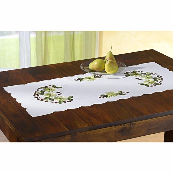 Tischläufer weiß/gelb
