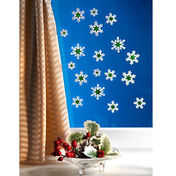 """Fensterbild """"Sterne"""" weiß-grün, 18-tlg."""