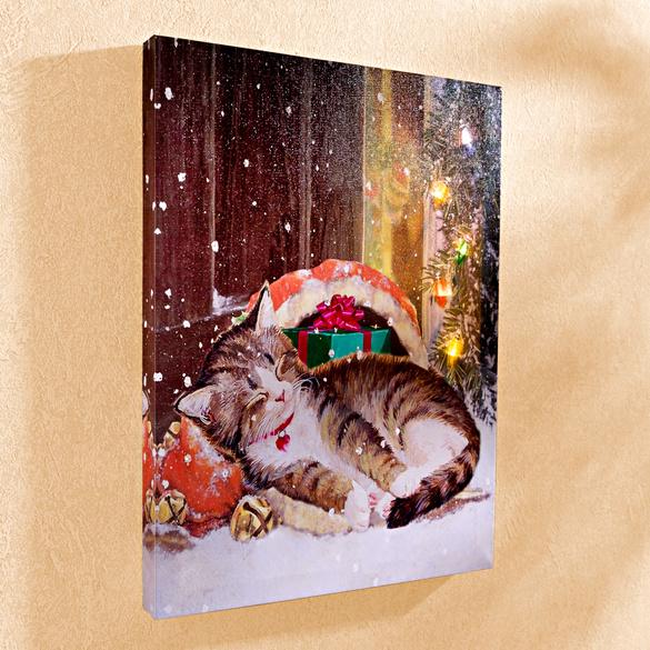 """LED-Bild """"Katze im Schnee"""""""