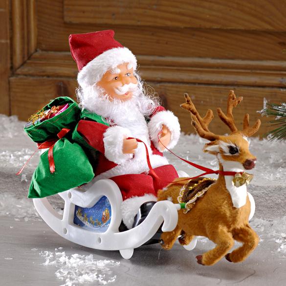 Weihnachtsmann mit Schlitten + Musik