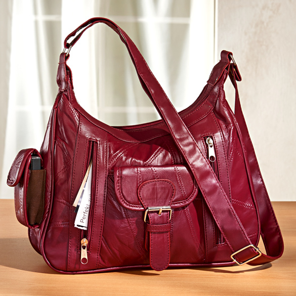 "Ledertasche ""Patchwork"" bordeaux"