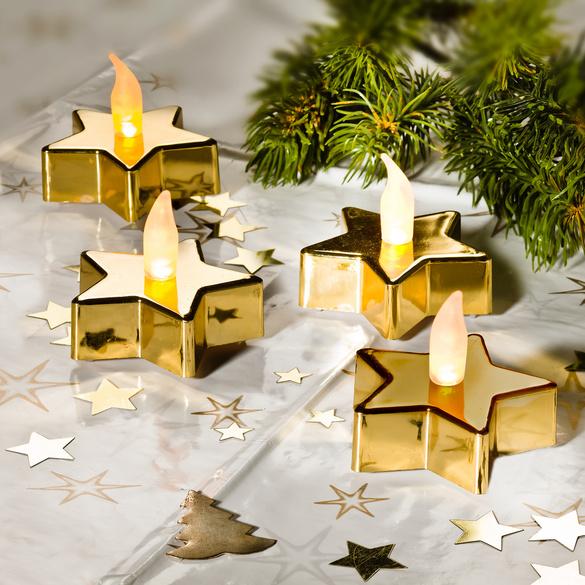 """LED-Teelichter """"Stern"""" Gold, 2er-Set"""