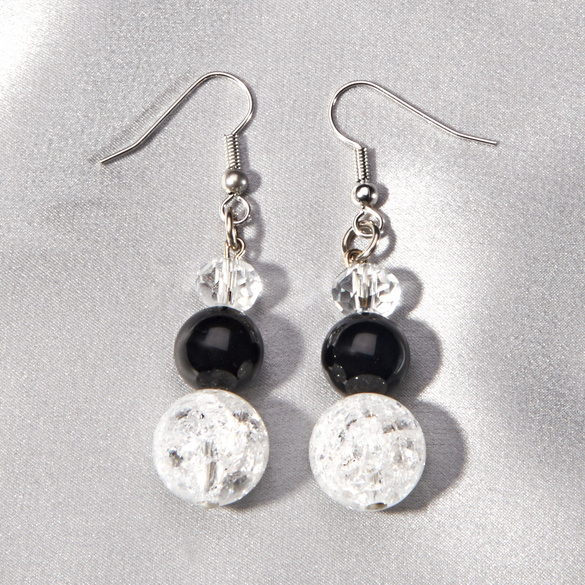 Ohrhänger Onyx/Bergkristall
