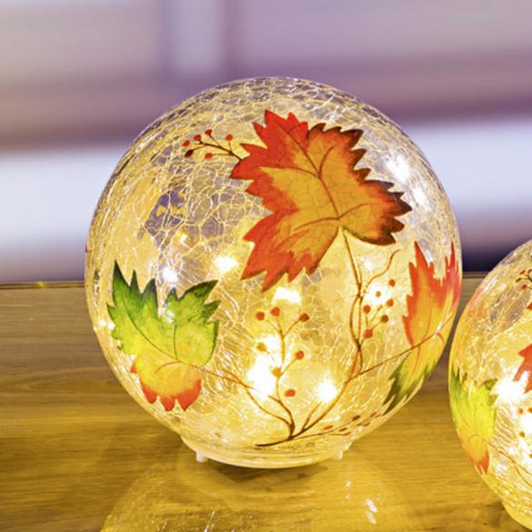 "LED-Glaskugel ""Herbstlaub"", Ø 15 cm"