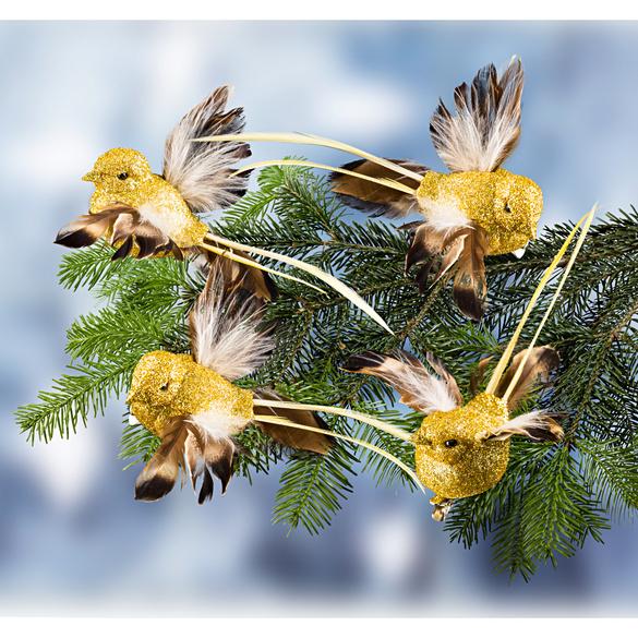 Ziervögel goldfarben, 4er-Set