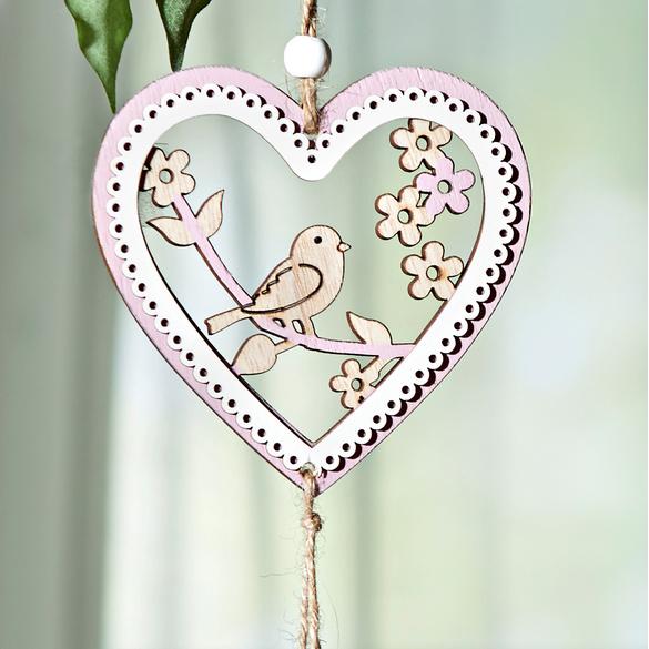 Herzhänger mit Vogel