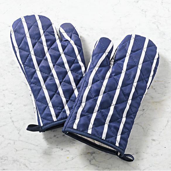 Kochhandschuhe blau-weiß, 1 Paar