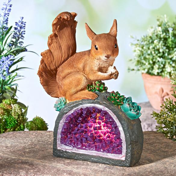 """Solarleuchte """"Eichhörnchen auf Kristall"""""""