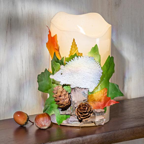 LED-Kerze mit Igel