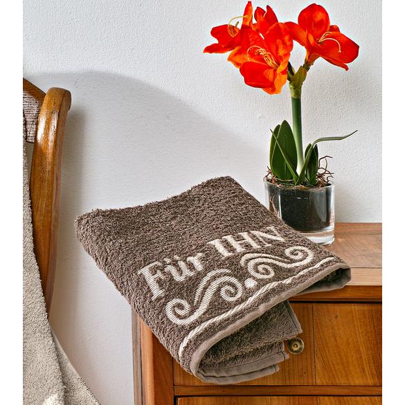 """Handtuch """"Für IHN"""" braun"""