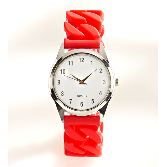 Stretch-Armbanduhr rot/silber