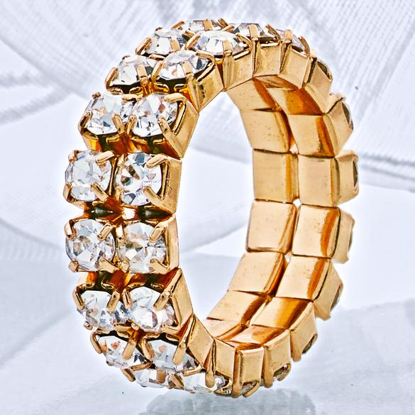 Strass-Ring elastisch, goldfarben