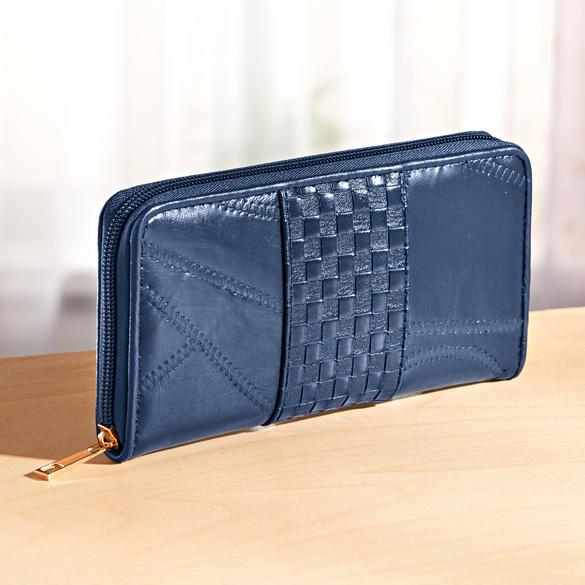 Geldbörse mit Flechtung blau