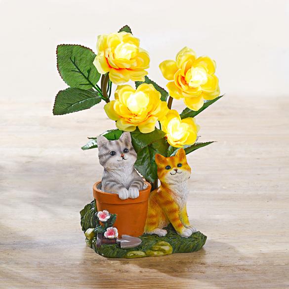 "Solarleuchte ""Katzen & Blumen"""