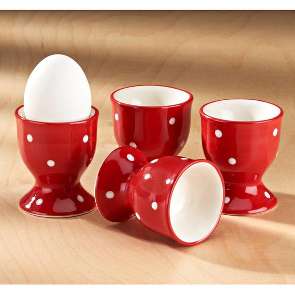 """Eierbecher """"Tupfen"""" rot-weiß"""