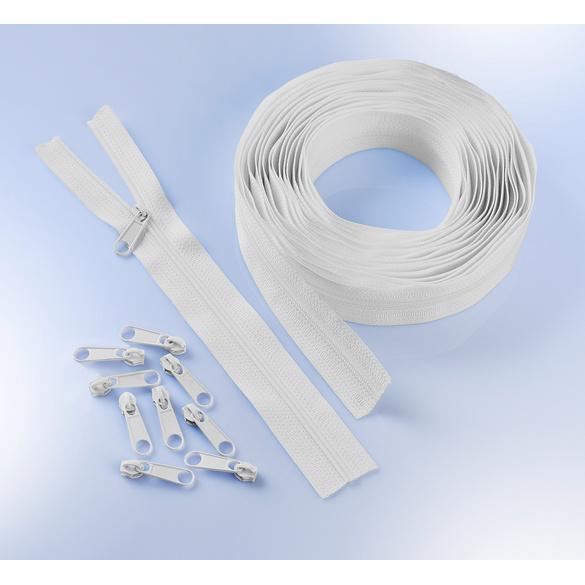 6 m Endlos-Reißverschluss + 25 Zipper weiß
