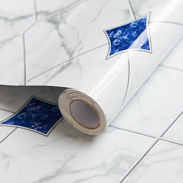 """Spritzschutz """"Rauten"""" weiß-blau"""