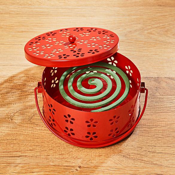 Stövchen für Insektenspiralen rot
