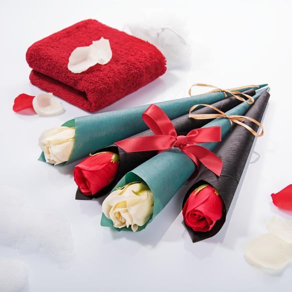 Seifen-Rosen weiß + rot, 4er-Set