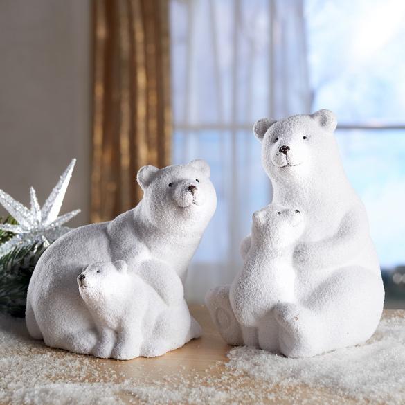 Eisbär-Vater mit Baby sitzend