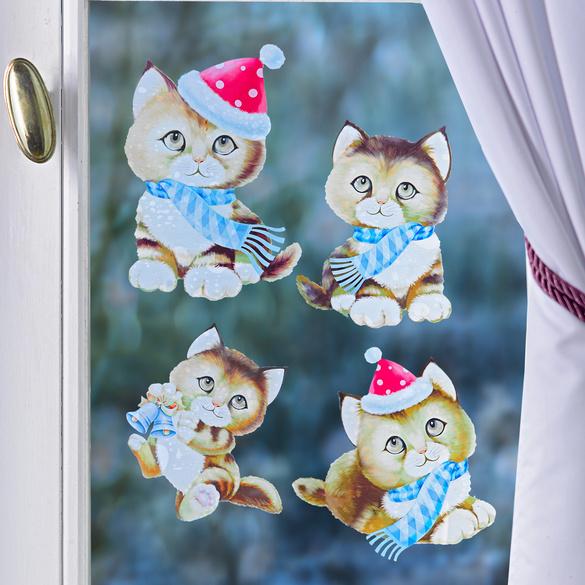 """Fensterbild """"Weihnachtskätzchen"""""""