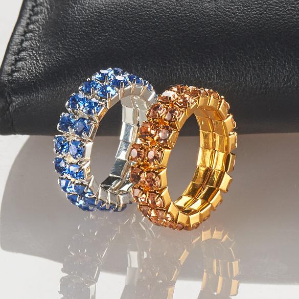 Strass-Ring elastisch, silber/saphirblau