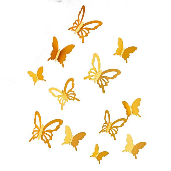 """3D-Sticker """"Schmetterlinge"""" goldfarben, 20er-Set"""