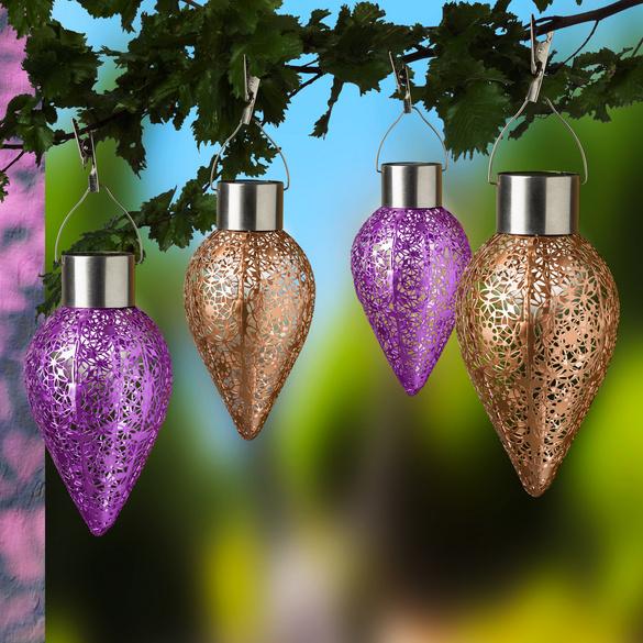 Solar-Hängeleuchten kupfer + lila