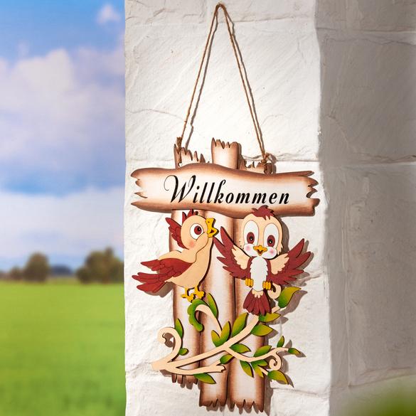 "Holz-Deko ""Willkommen"""