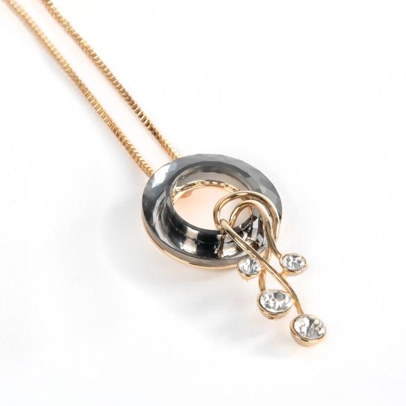 Halskette mit Kristallanhänger goldfarben/schwarz