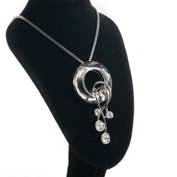 Halskette mit Kristallanhänger silberfarben/schwarz