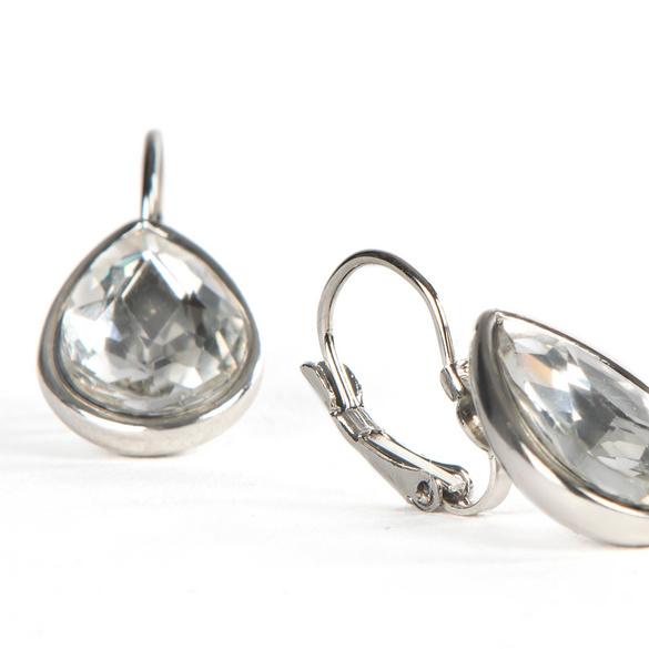 Ohrhänger mit Kristall-Tropfen schwarz