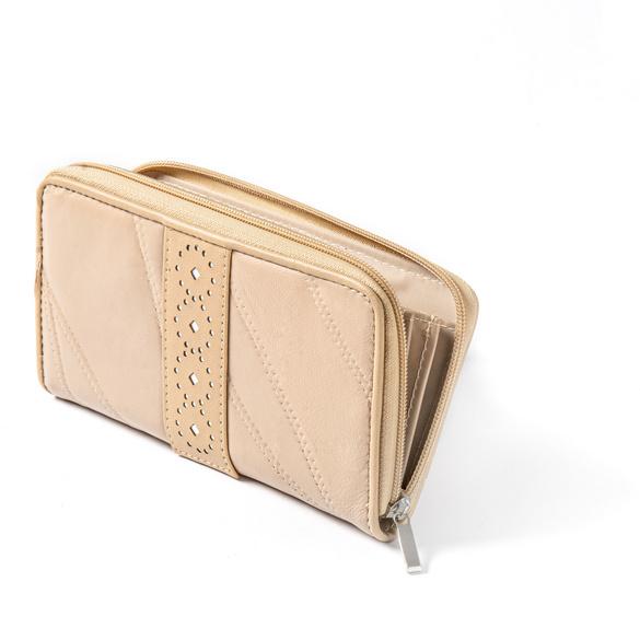 Patchwork-Lederbörse beige