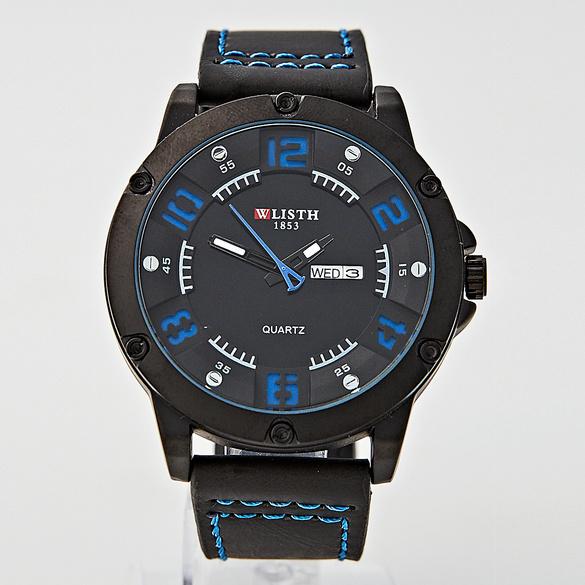 Herren-Armbanduhr, schwarz-blau