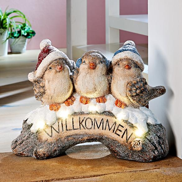 """LED-Willkommensschild """"Vogel-Trio"""""""