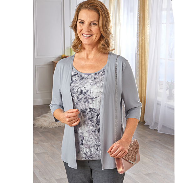 Cardigan 2-in-1 silbergrau