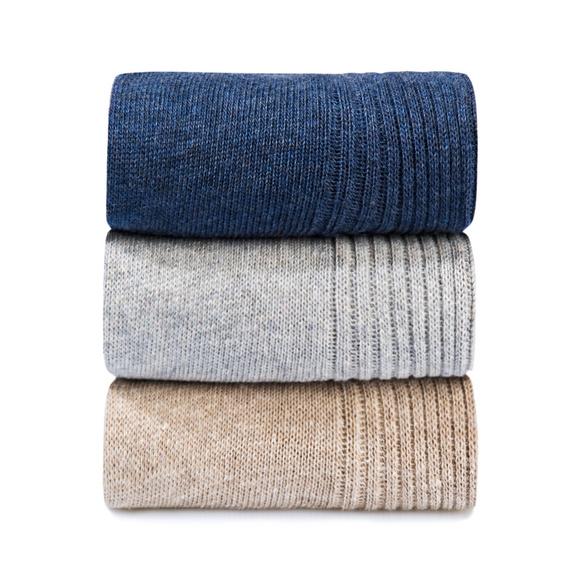 Diabetiker-Socken marine/hellgrau/beige, 3 Paar