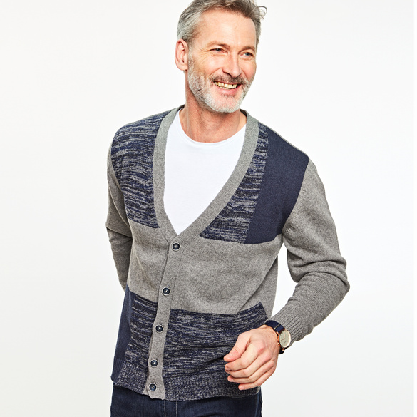 Herren-Cardigan blau/grau