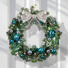 LED-Weihnachtskranz  silber-blau