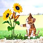 Solar-Blumen mit Katze