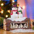 LED-Baumstamm mit Schneemann