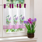 Gardine mit Blüten + Vögeln