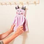 """Handtuch mit Bügel """"Katze"""" flieder"""